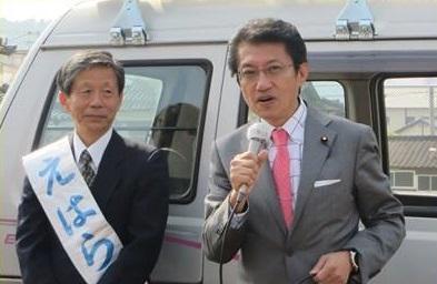 江原候補出発式=1日、武雄市