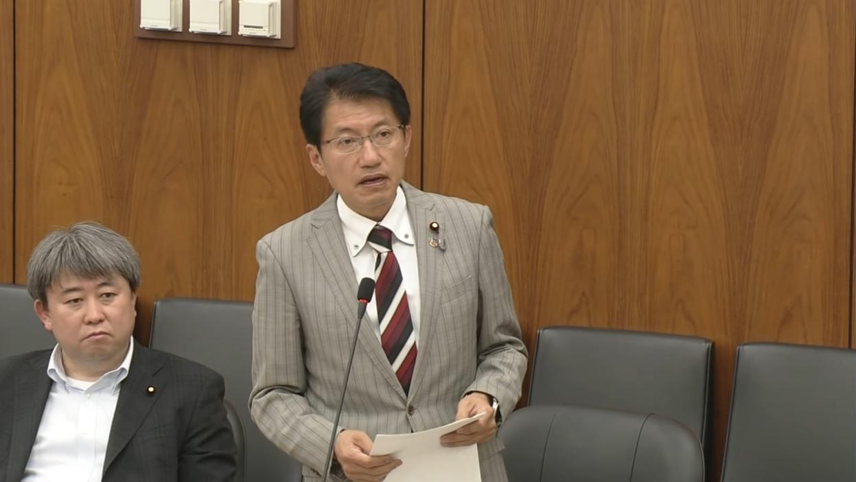 日米自由貿易交渉について質問 田村議員=5月8日